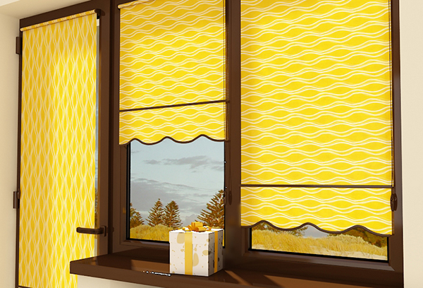 Ярко-желтые рулонные шторы