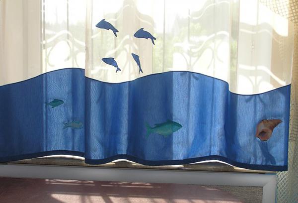 Шторы в детскую на тему морских волн