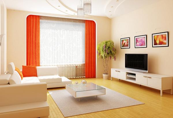 Шторы для гостиной, контрастирующие с окружением