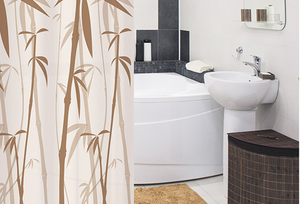 l f rmiges vorhangstange f r die badewanne. Black Bedroom Furniture Sets. Home Design Ideas