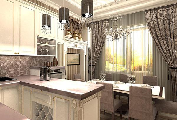 Серебристые шторы в интерьере кухни