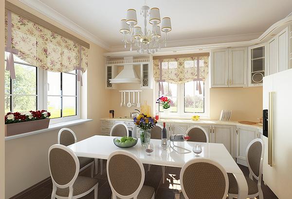 Шторы в стиле прованс в современном интерьере кухни