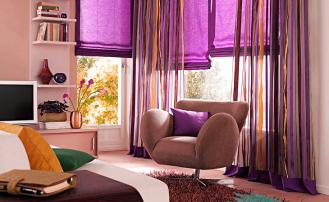 Как правильно сочетать шторы фиолетового цвета в интерьере