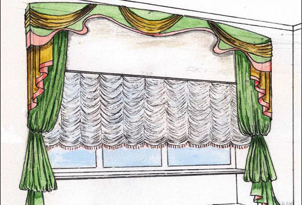 Эскиз сложного оконного декора