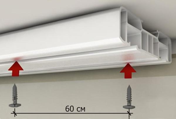 Крепление пластикового карниза к потолку из гипсокартона