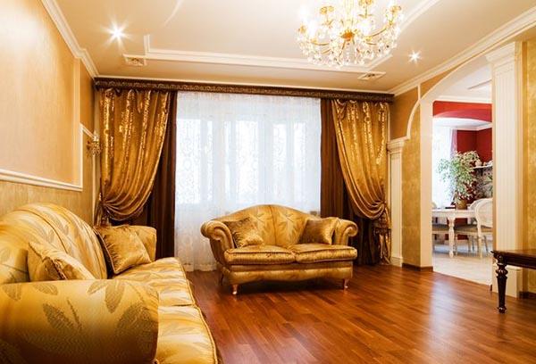 Итальянские шторы в интерьере гостиной