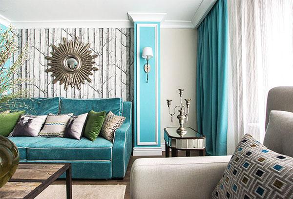 Фрагмент интерьера гостиной с использованием бирюзового цвета