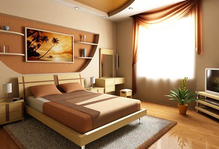 Терракотовый оттенок штор в спальне