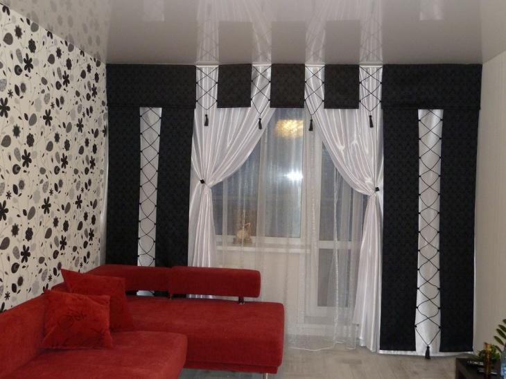 шторы для зала в черном цвете