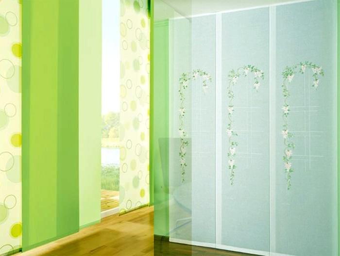 Зеленные японские шторы