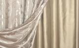 Бежевые шторы разной фактуры