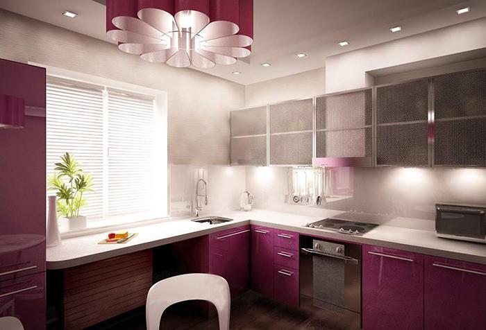Жалюзи на кухне в стиле минимализм