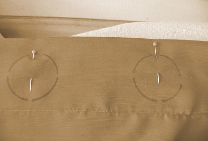 Разметка для люверсов на полотне шторы