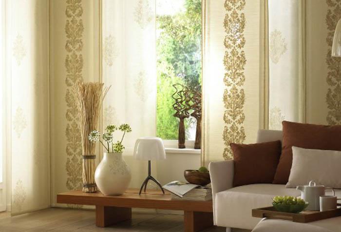 Японские шторы изо льна в интерьере гостиной