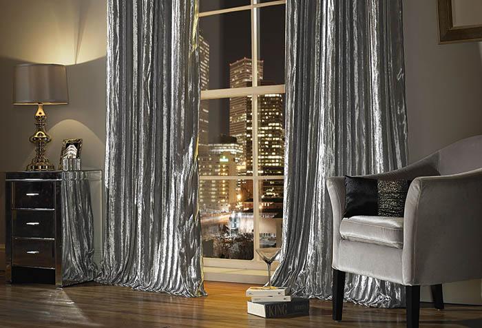 Гламурные серебристые шторы