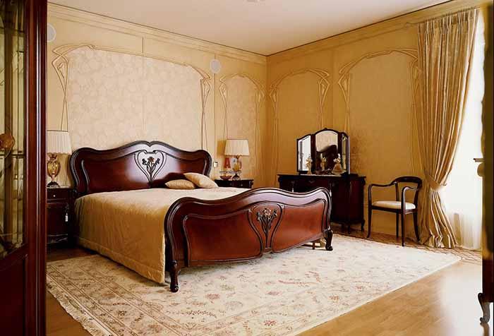 Шторы в интерьере спальни в стиле модерн
