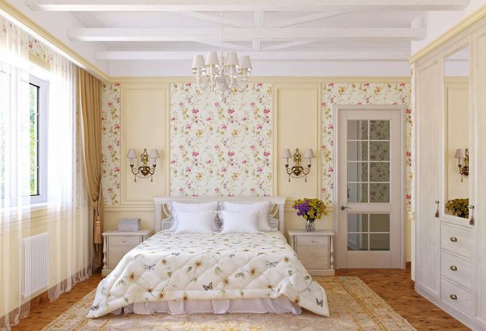 Однотонные шторы и обои с рисунком