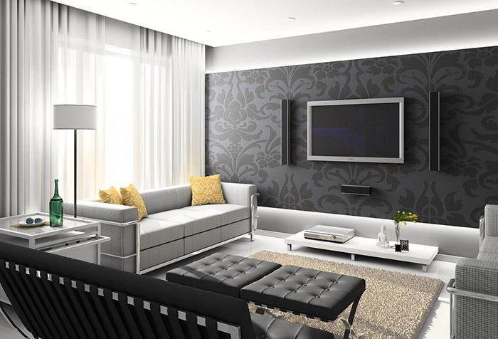 Однотонные шторы в стильном интерьере с черными обоями