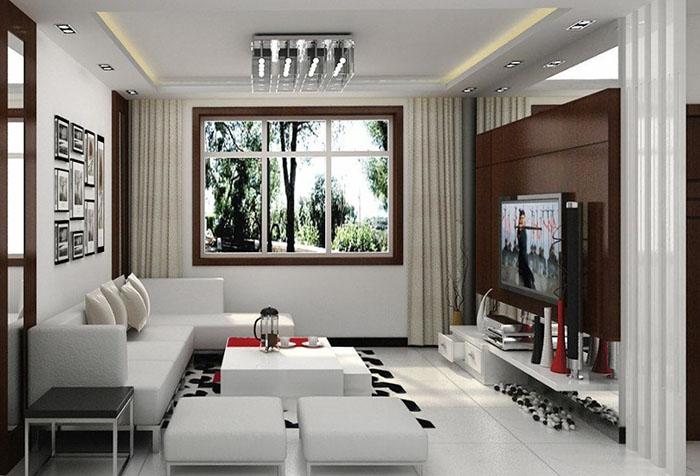 Модель интерьера гостиной с бежевыми портьерами