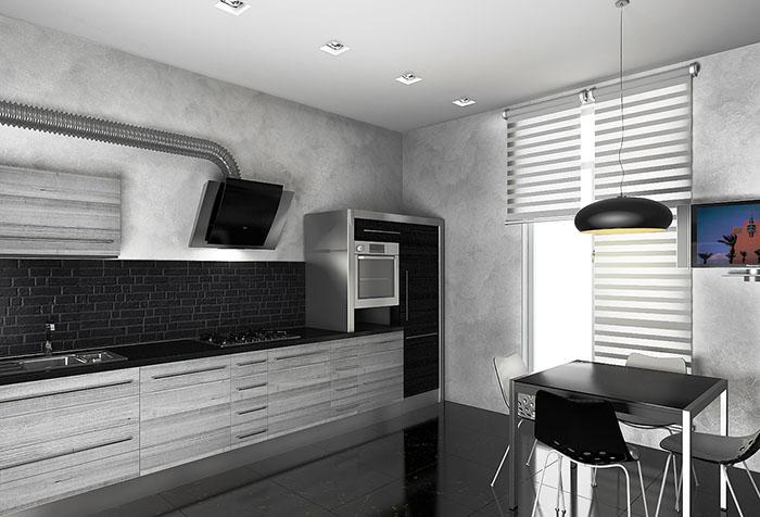 """Рулонные шторы """"зебра"""" в интерьере современной кухни"""