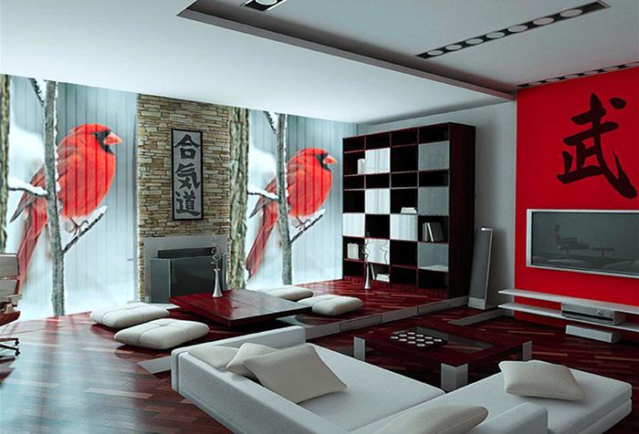 Жалюзи с изображением снегирей в гостиной в японском стиле