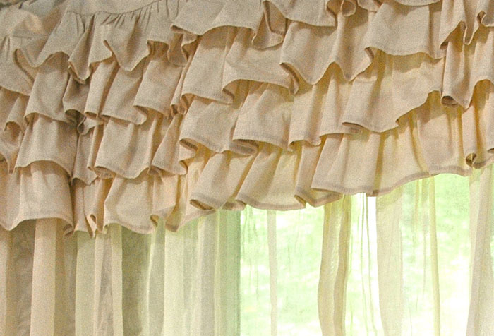 Декор занавески в стиле шебби шик
