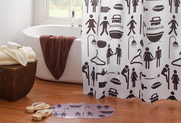 Непромокаемая шторка для ванной