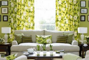 Как правильно подобрать зеленые занавески или шторы для декорирования спальни, кухни и других комнат?