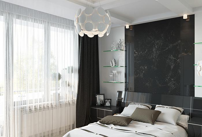 Черные портьеры с белым тюлем в спальне