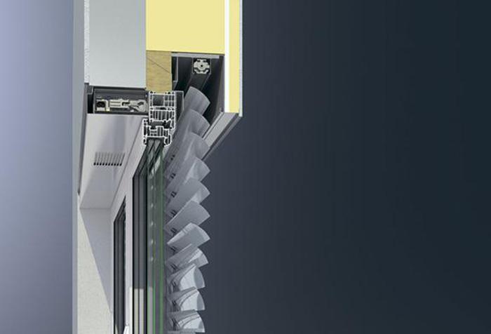 Схема конструкции горизонтальных жалюзи в разрезе