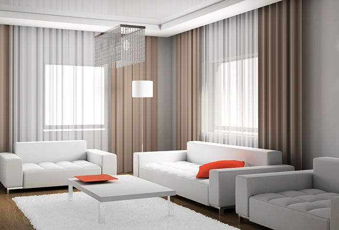 Простые шторы для гостиной в стиле минимализм