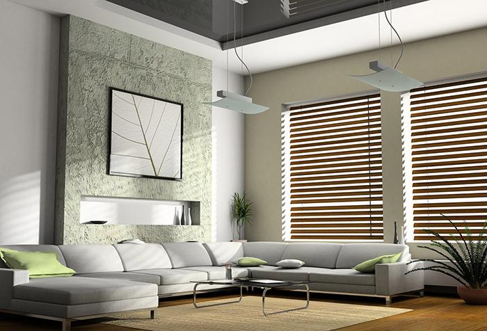 Деревянные жалюзи в современной гостиной