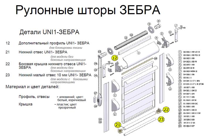 """Схема конструкции рулонной шторы """"зебра"""""""