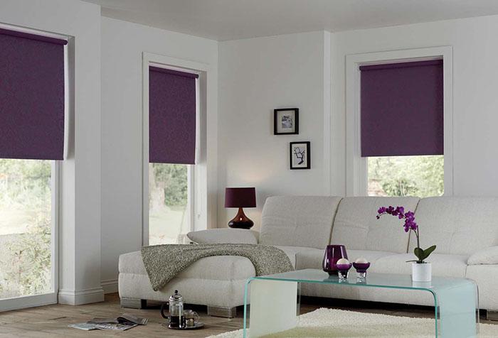 Рулонные шторы блэкаут в интерьере гостиной