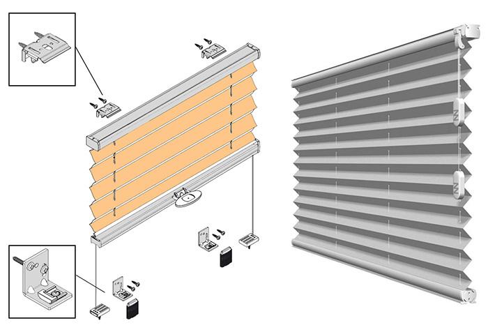 Схема установки шторы плиссе