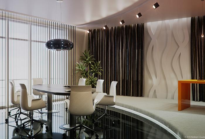 Вертикальные жалюзи и портьеры в интерьере современного офиса