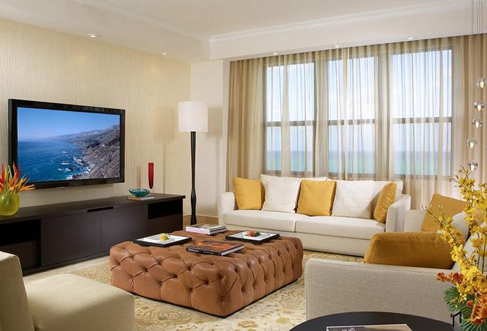Шторы из органзы песочного цвета в гостиной