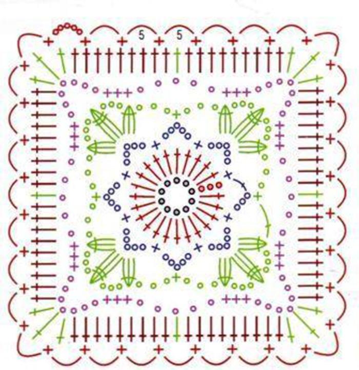 Схема квадратного модуля для вязания шторы