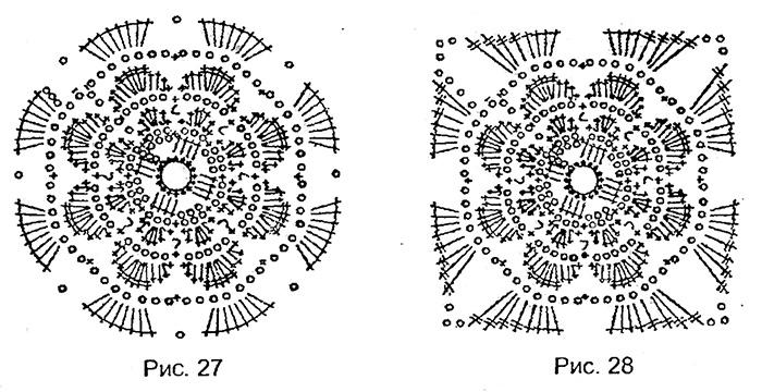 Две схемы модулей для вязания полотна занавески