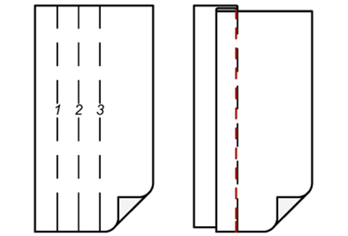 Схема заложения односторонней складки