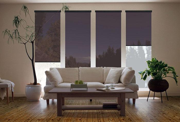 Современные рулонные шторы в гостиной