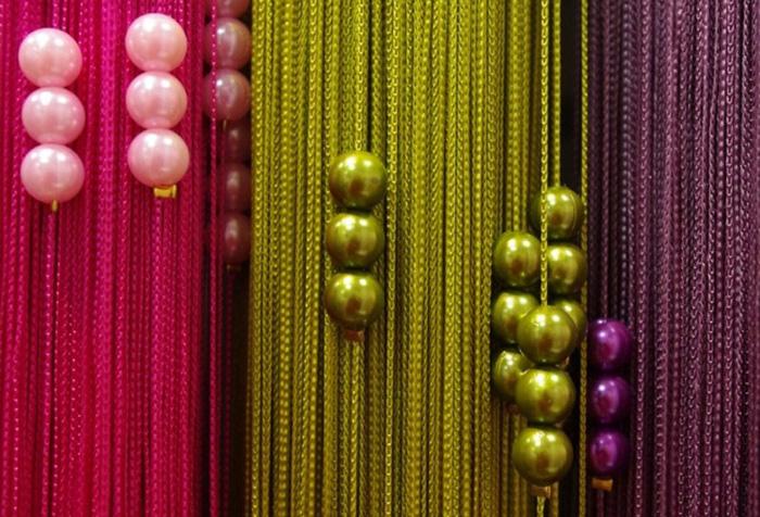Кисея разных цветов с бусинами