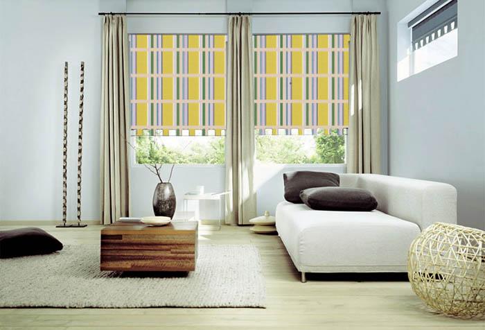 Рулонные шторы в интерьере гостиной
