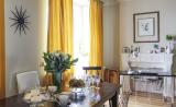 Шторы желтого цвета в столовой