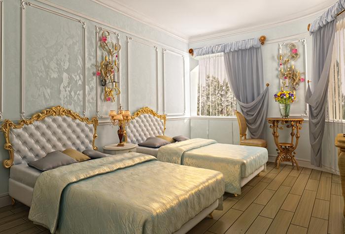 Спальня в классическом стиле и шторы с буфами