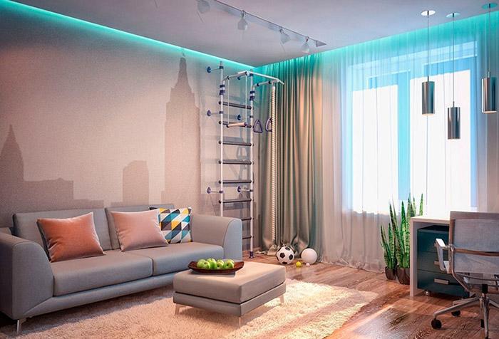 Гипсокартонная ниша для штор с подсветкой в гостиной