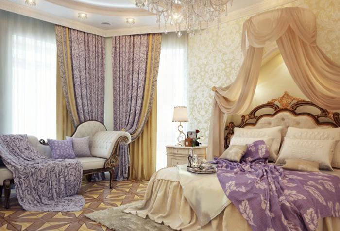 Багетные потолочные карнизы для штор в спальне