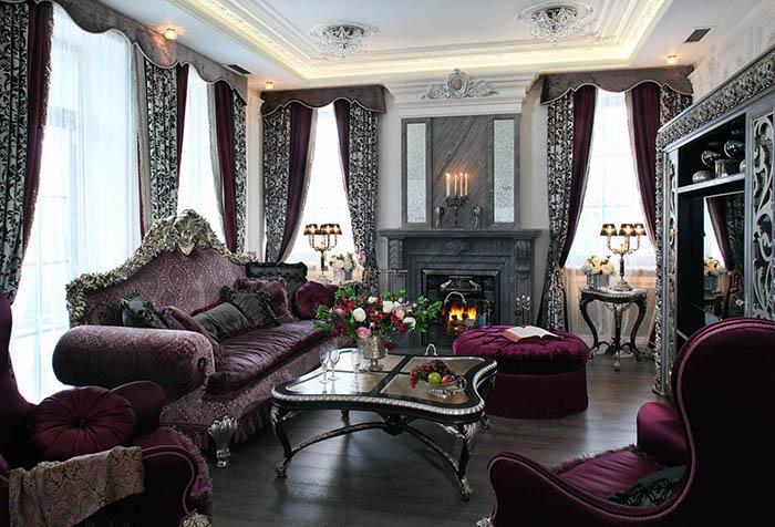 Портьеры в стиле барокко с жесткими ламбрекенами