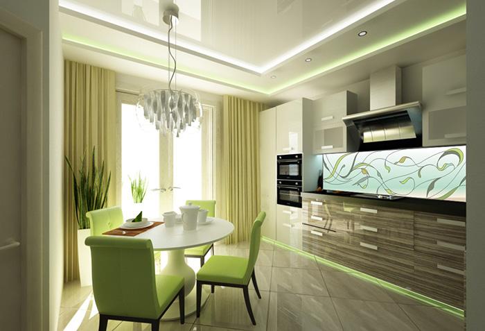 Светло-зеленые шторы на кухне