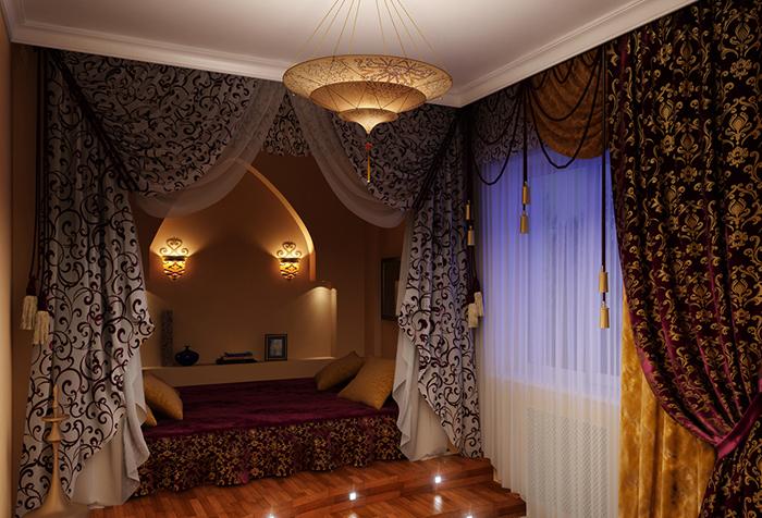 Арабские шторы в интерьере с восточным колоритом